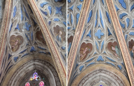 Premiers résultats de la restauration : les voûtes de l'abside