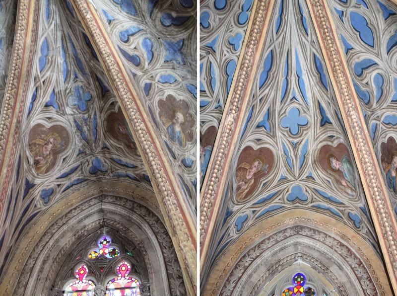 Un voûtain de l'abside avant et après restauration